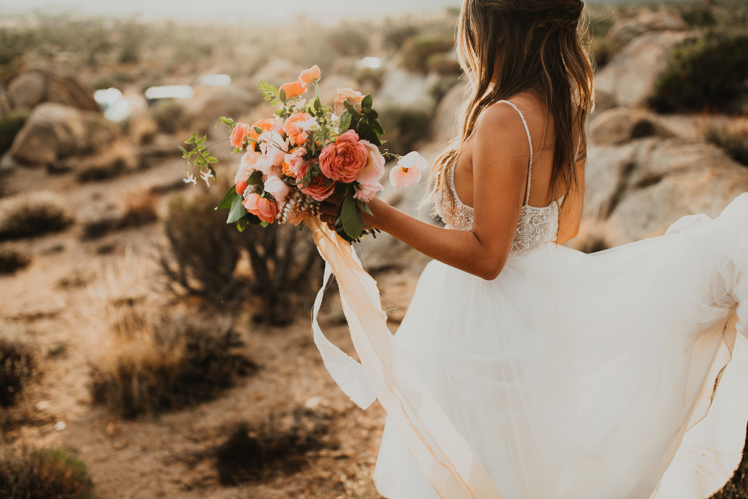 Asian Bride, boho wedding, wedding hair, wedding inspiration. natural beauty, outdoor wedding, peach and pink flowers, half up-do. Vanity Belle in Orange County (Costa Mesa) and San Diego (La Jolla)