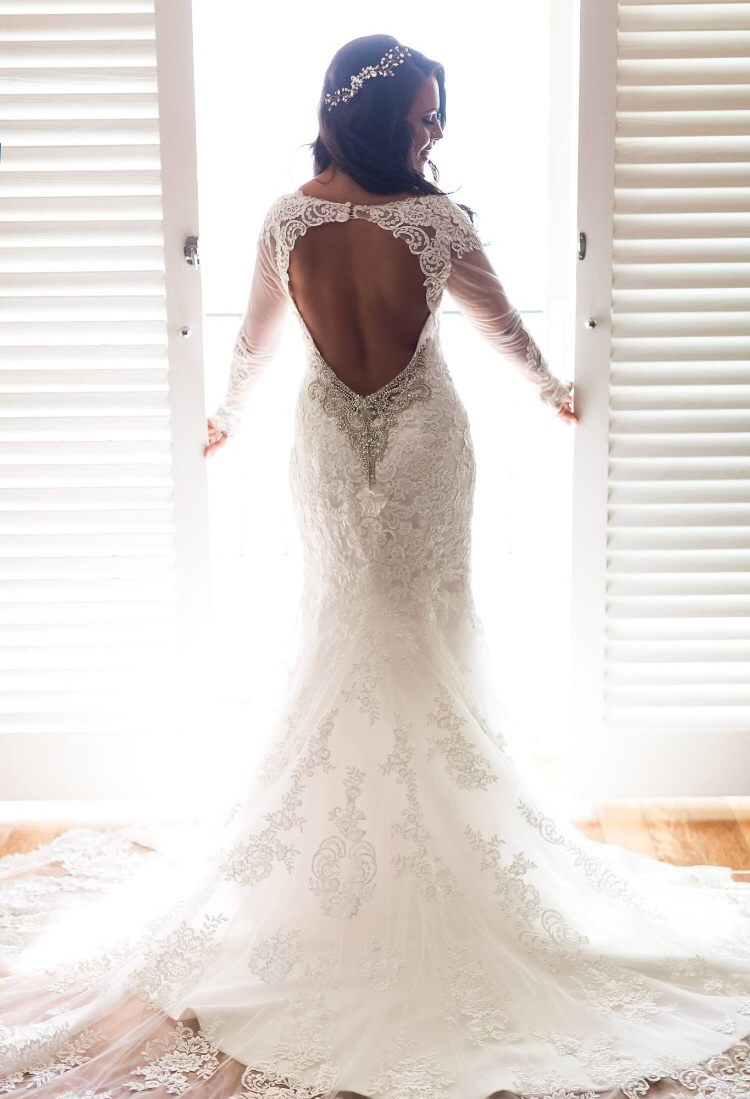 Low back wedding dress for bridal fashion photography. Wedding Hair and Makeup by Vanity Belle in Orange County (Costa Mesa) and San Diego (La Jolla)