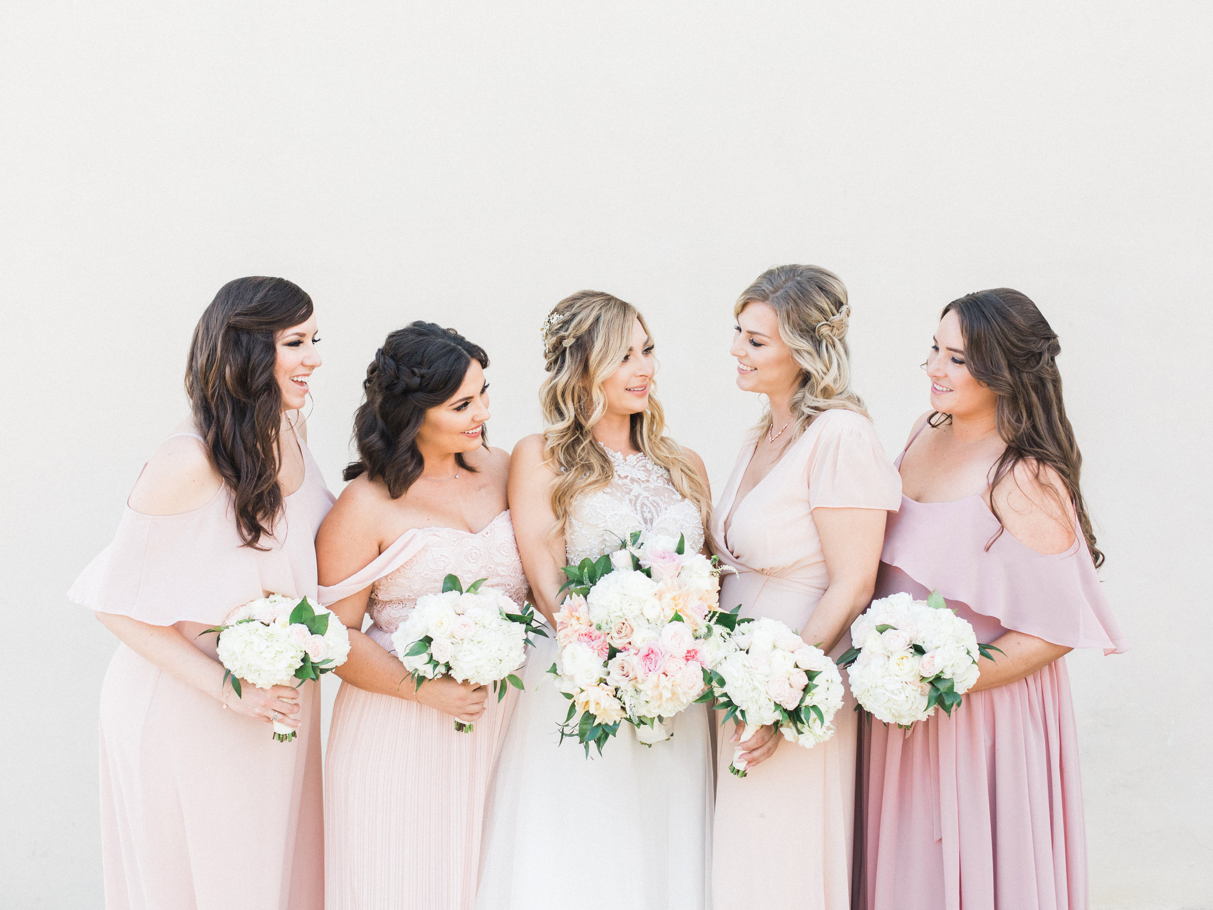 bridesmaids-half up do-twisted braid-bridal beauty-pastel pink dresses-thevanitybelle.com-san diego-wedding hair and makeup-