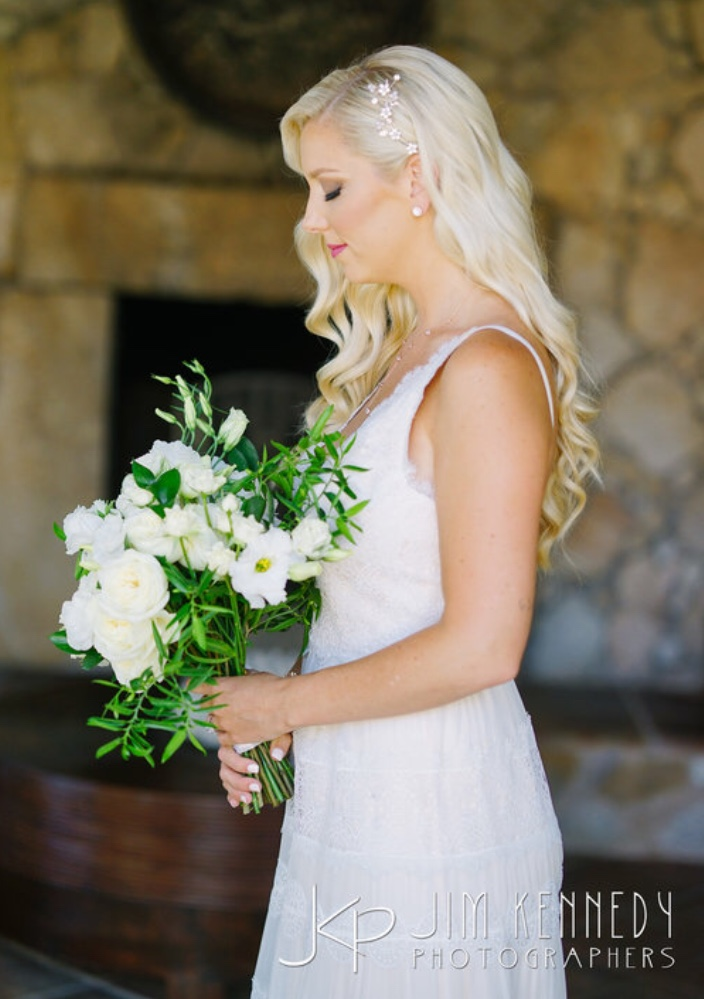 Bridal blonde hair style for beach wedding by Vanity Belle, Orange County (Costa Mesa) in Los Cabo Mexico.