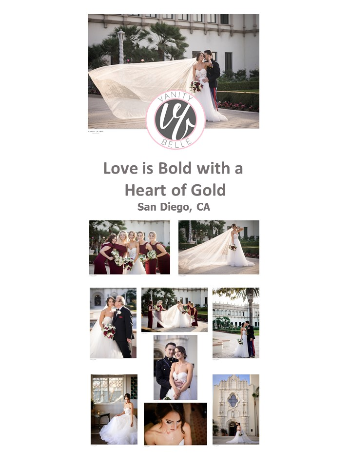Wedding Wednesday : Love is Bold with a Heart of Gold. Hair and makeup, wedding day beauty by Vanity Belle in Orange County (Costa Mesa) and San Diego (La Jolla). thevanitybelle.com