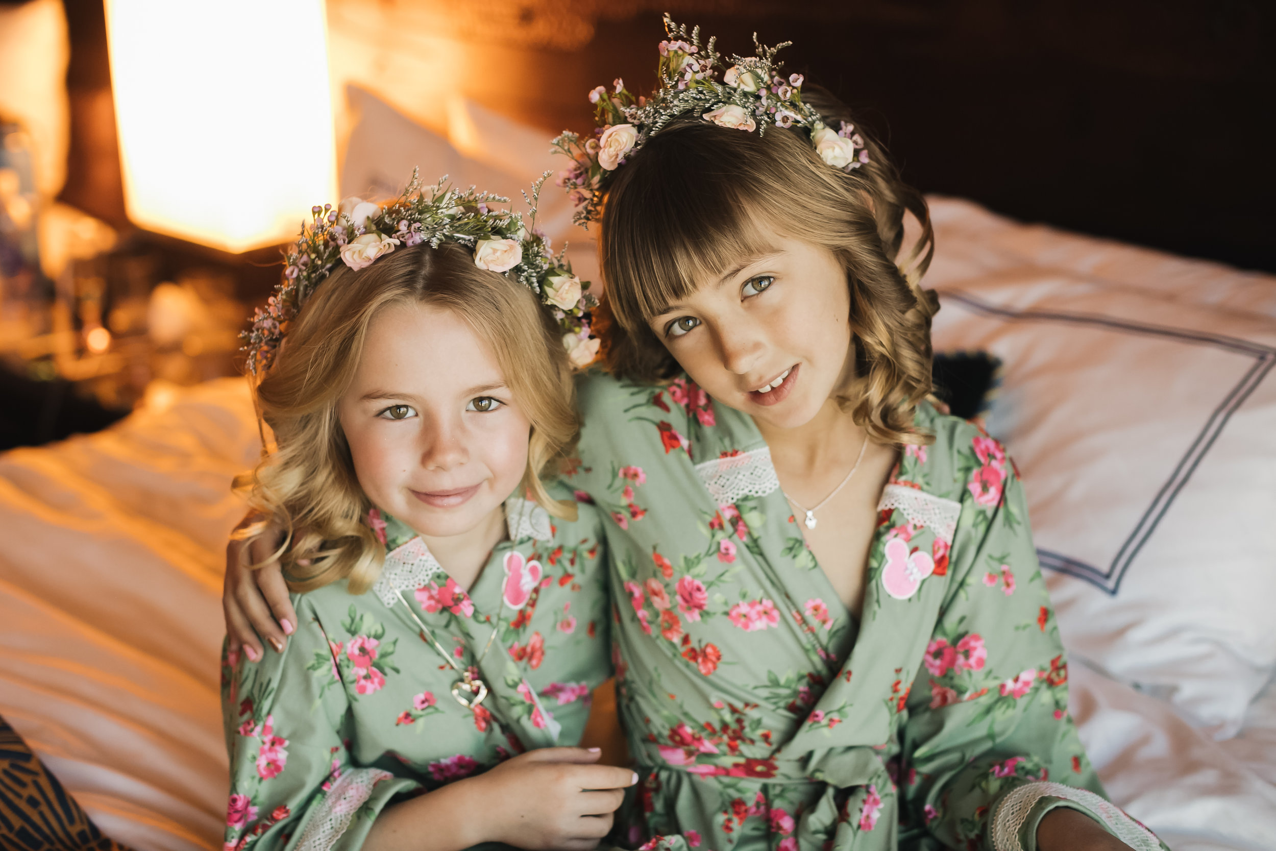 Adorable flower girls for Disney wedding. Hair & makeup by Vanity Belle in Orange County (Costa Mesa) and San Diego (La Jolla). www.thevanitybelle.com