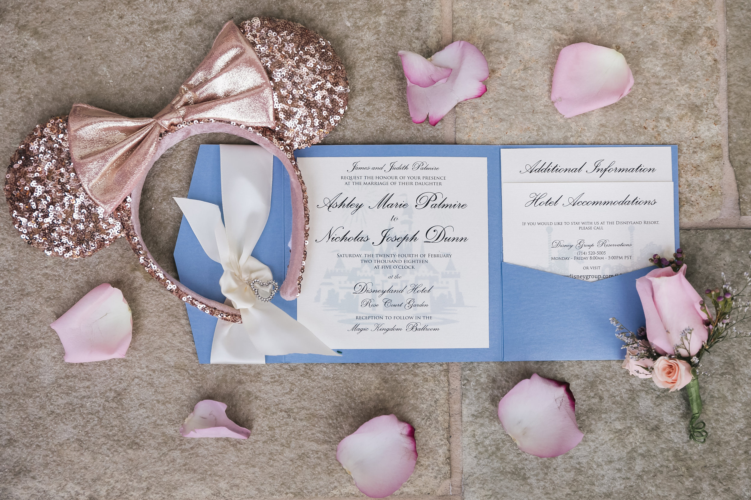 Rose gold Mickey ears, wedding invitation and Disney wedding decor photo by Analisa Joy Photography. Wedding Beauty by Vanity Belle. www.thevanitybelle.com