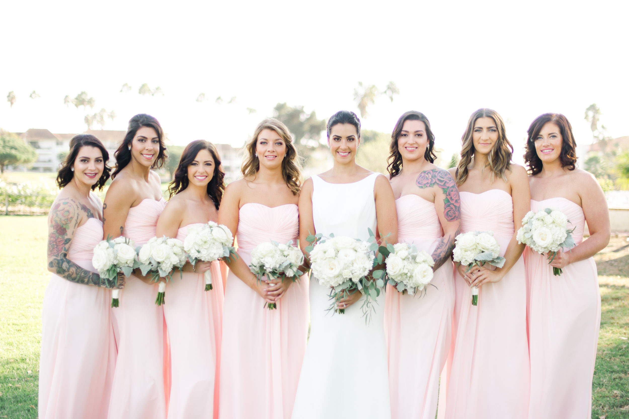 "Wedding Wednesday ""Love on the Green."" Bridal and bridesmaids wedding day beauty captured by Taryn Grey Photography. Bridal hair and makeup by Vanity Belle in Orange County (Costa Mesa) and San Diego (La Jolla) thevanitybelle.com"