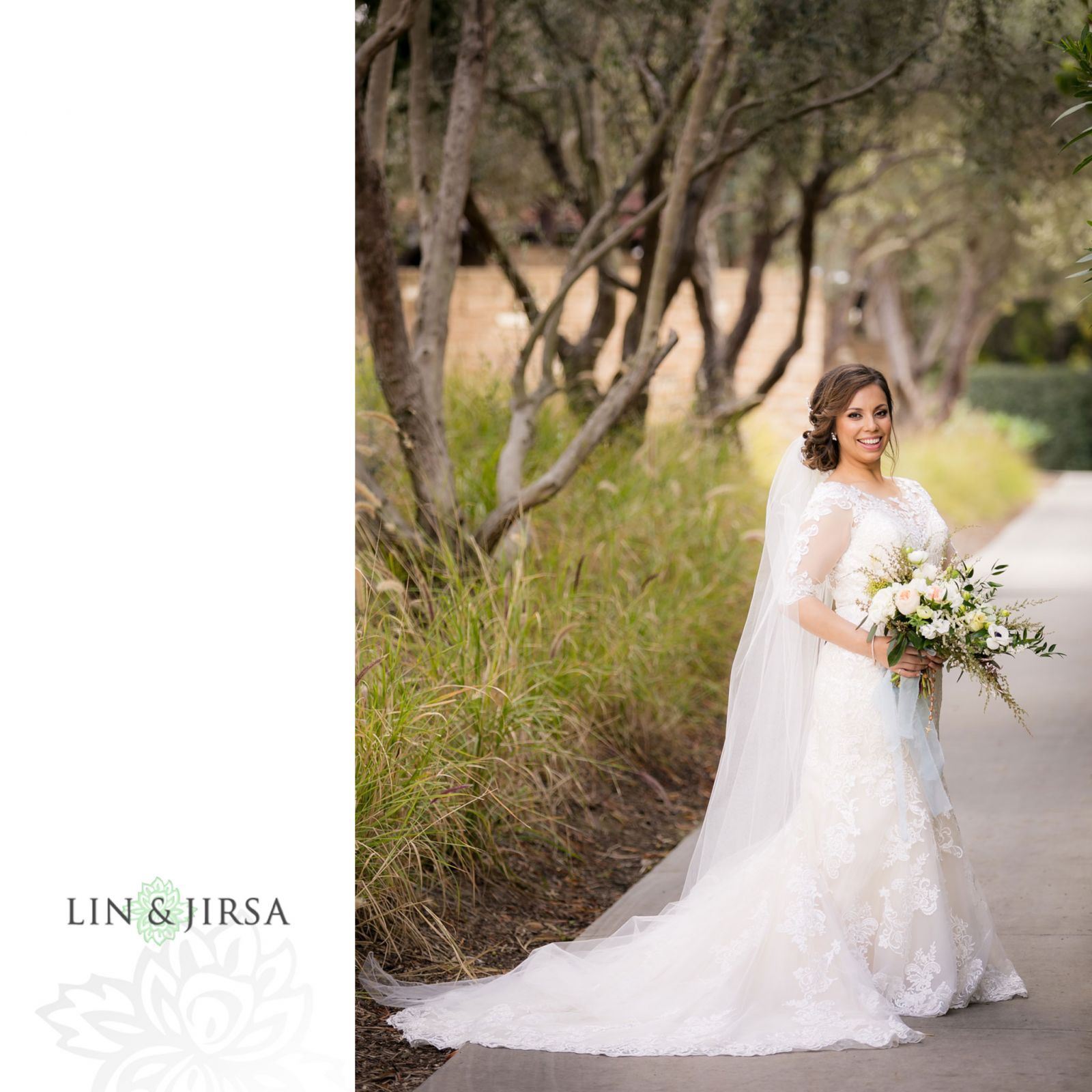 Bridal portrait wearing long sleeved lace dress holding wedding bouquet.   Wedding Day hair and makeup  beauty by Vanity Belle in Orange County (Costa Mesa) and San Diego (La Jolla) thevanitybelle.com. Photography by Lin and Jirsa.