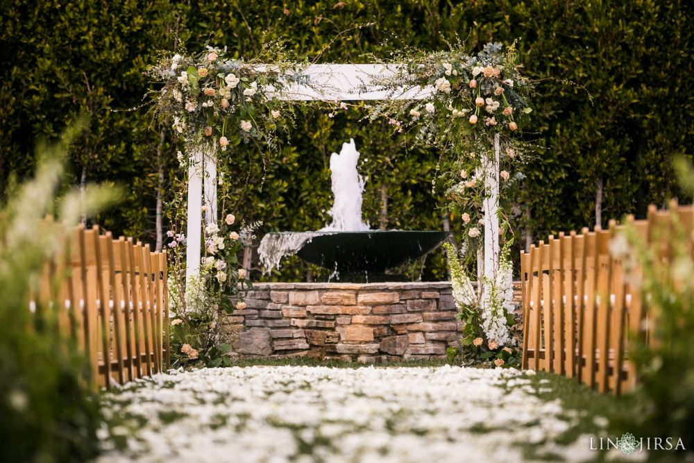 Bridal wedding details captured by Lin and Jirsa Photography. Outdoor water fountain by ceremony at the Estancia in La Jolla. Wedding Day Beauty by Vanity Belle in Orange County (Costa Mesa) and San Diego (La Jolla) thevanitybelle.com