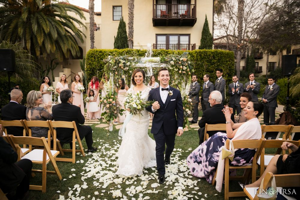 Just announced 'husband and wife' after wedding   ceremony at the Estancia Hotel in La Jolla. Bridal Beauty by Vanity Belle in Orange County (Costa Mesa) and San Diego (La Jolla) thevanitybelle.com. Photography by Lin and Jirsa.