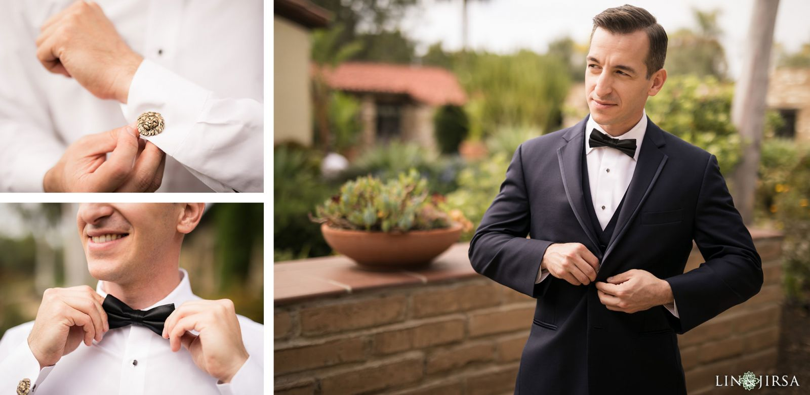 Groom attire and accessories during wedding   at the Estancia Hotel in La Jolla. Wedding Day Beauty by Vanity Belle in Orange County (Costa Mesa) and San Diego (La Jolla) thevanitybelle.com. Photography by Lin and Jirsa.