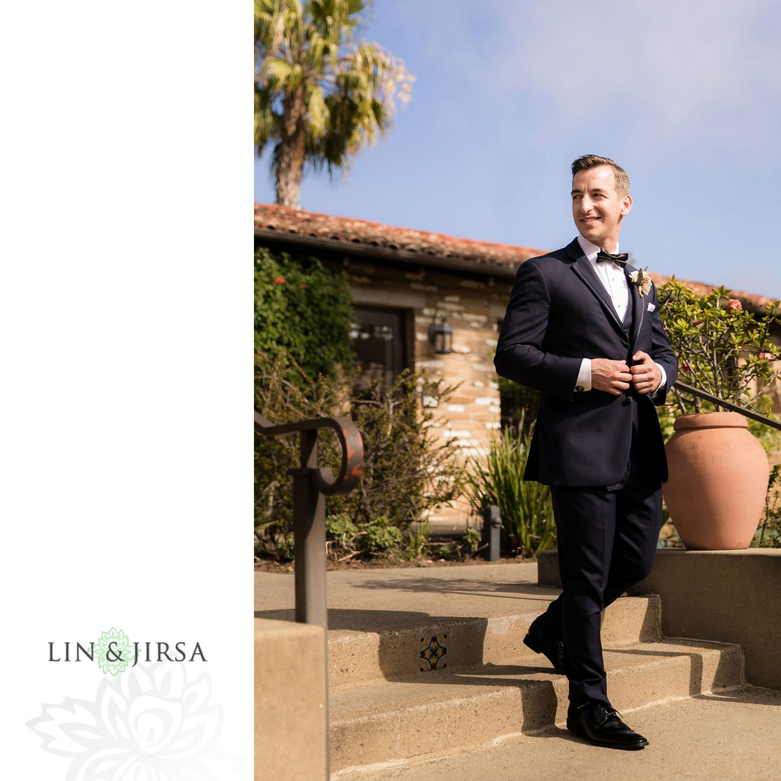 Groom ready to see his bride   at the Estancia Hotel in La Jolla. Wedding Day Beauty by Vanity Belle in Orange County (Costa Mesa) and San Diego (La Jolla) thevanitybelle.com. Photography by Lin and Jirsa.