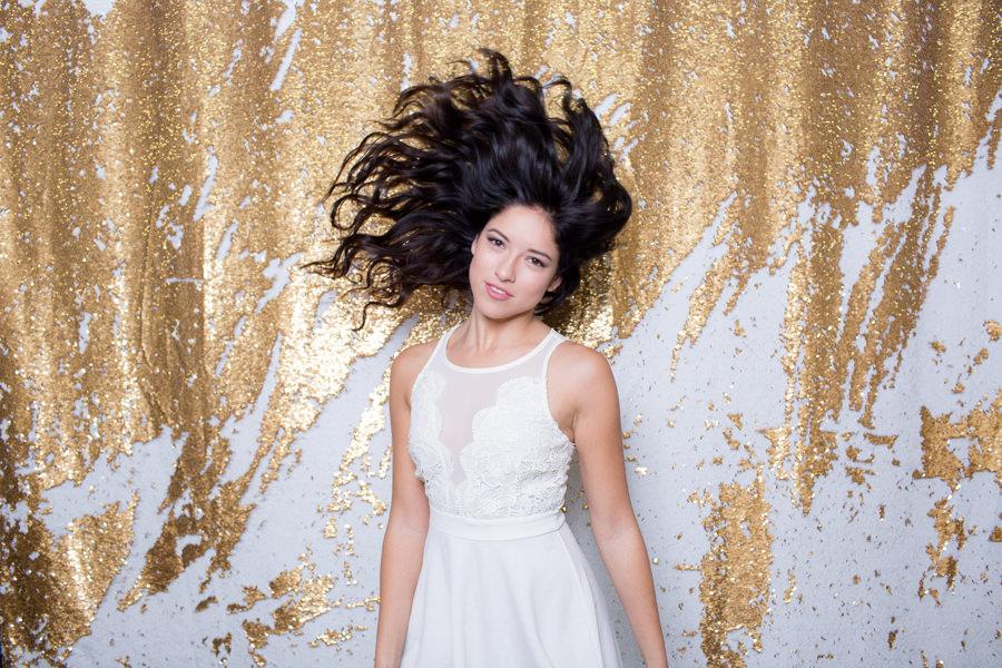Gold + White Sequin