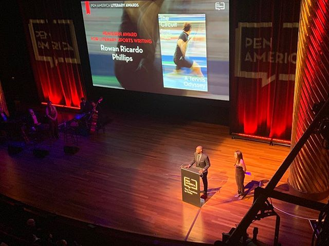"""Writing is the only action I know where I feel like an ethical and moral person."" - Rowan Ricardo Phillips accepts the 2019 PEN/ESPN Award for Literary Sports Writing. Rowan's novel, THE CIRCUIT, was also @sfchronicle's 2018 Best Book of the Year!  Thank you to @pen_america for the beautiful photo! • • • #penamerica #pen #espn #literaryreward #literarysportswriting #sports #tennis #winner #thecircuit #australianopen #grandslams #usopen #rogerfederer #rafaelnadal #2017 #bookstagram #books #bookshelf #sportsbooks"
