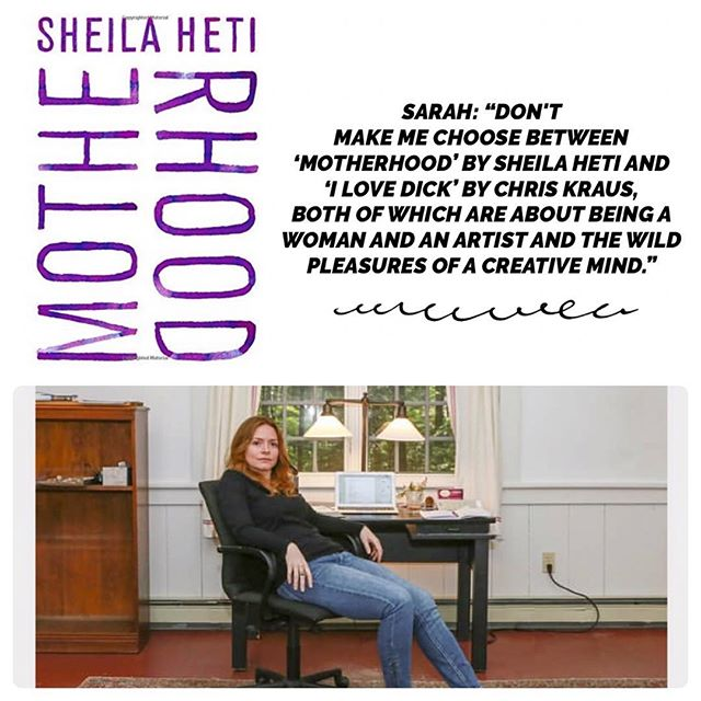 When asked by @belletrist what her favorite book was this past year, author @sarah_mccoll gave Sheila Heti's MOTHERHOOD a shout out! • • • #shoutout #motherhood #joyenough #belletrist #bookstagrammer #bookstagram #bookshelf #2018 #bestbooks #books #sheilaheti