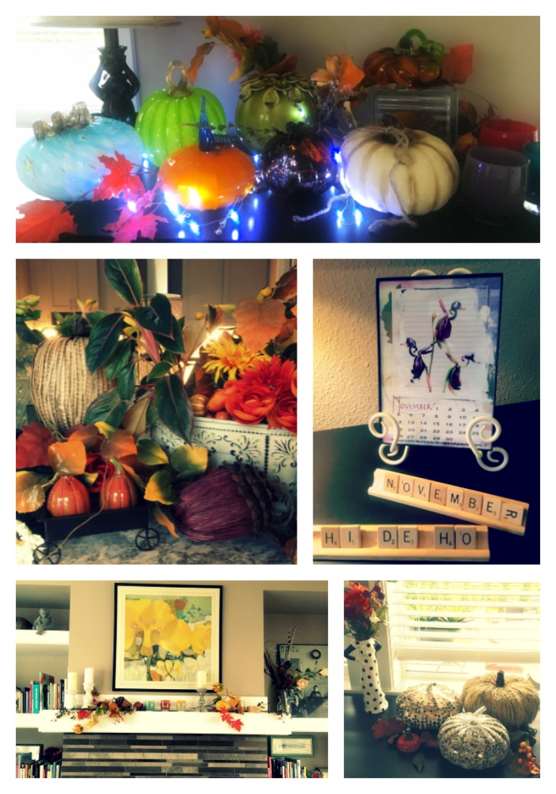 I put away the Halloween, but hanging on to the harvest look. Trying to keep the snow and cold away.