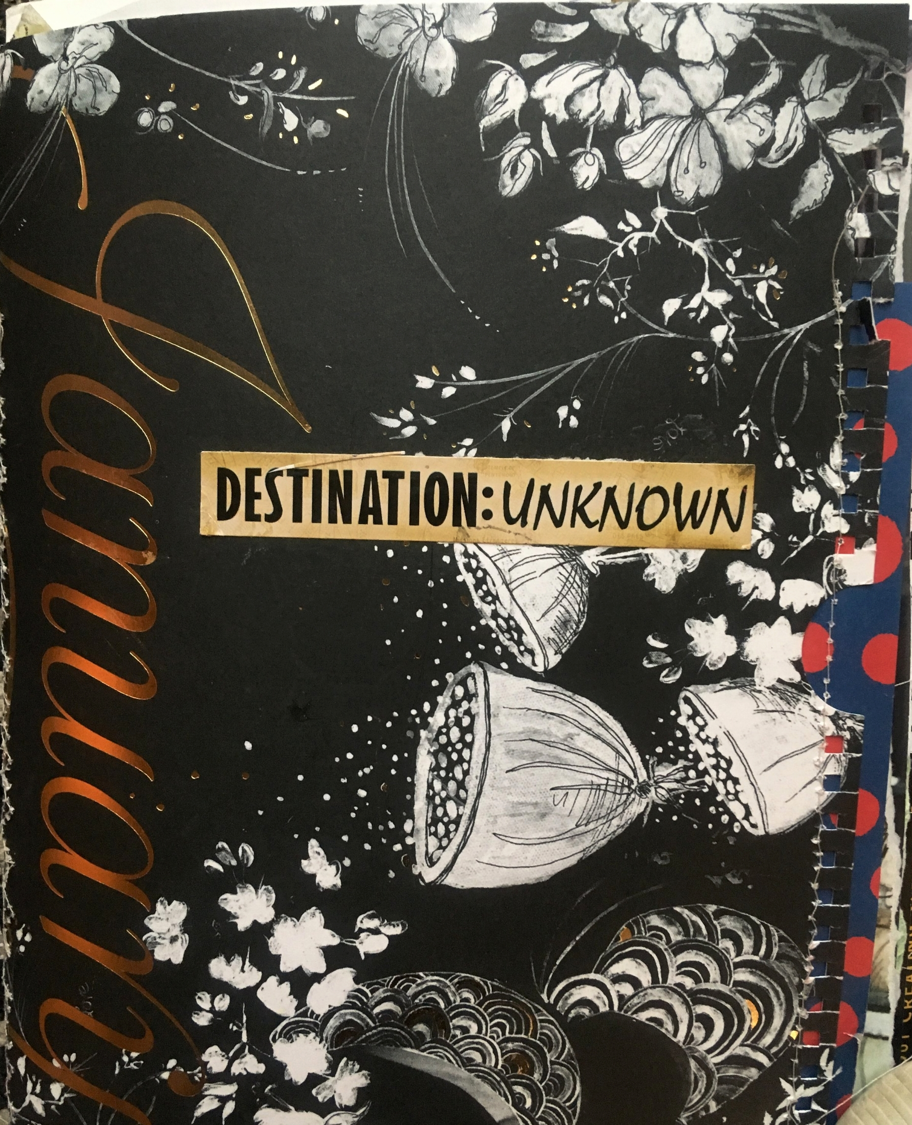 I have been neglecting my art journals. And, yet, I love keeping them. This is the journal I am currently making art in. I like my journals with pieces hanging out, threads and stitching apparent, and loosy-goosy. This is an Anthropologie catalog I am redesigning.