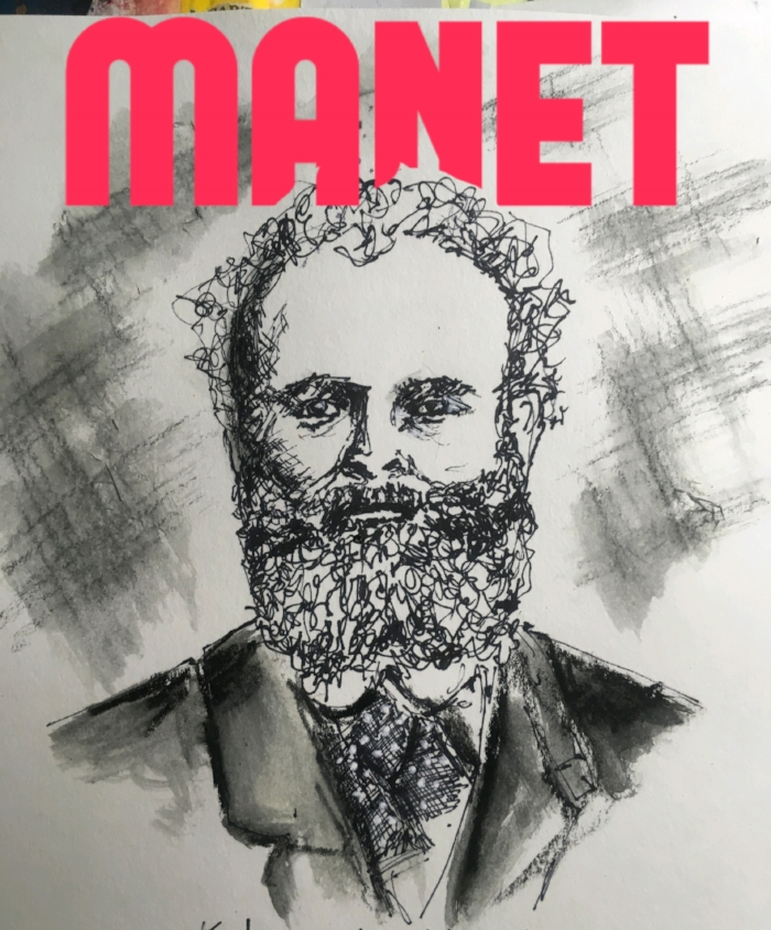A quick sketch of Manet. I tend to draw faces with more realism and detail, but I love the look of the sketch and cross-hatching, so this was my challenge. His wiry hair and beard and polka-dotted whatever-you-called-it back then made scribbling not only okay but quite necessary! The f letters were accomplished with the Write Behind app.