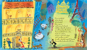 Marjorie Priceman illustrated the book with cheery, wild, and colorful ink-and -gouache patterns and drawings. She has you turn the Paris page on its side to fathom its height and take in all the reds and oranges and purples of a flashy, jazzy time.
