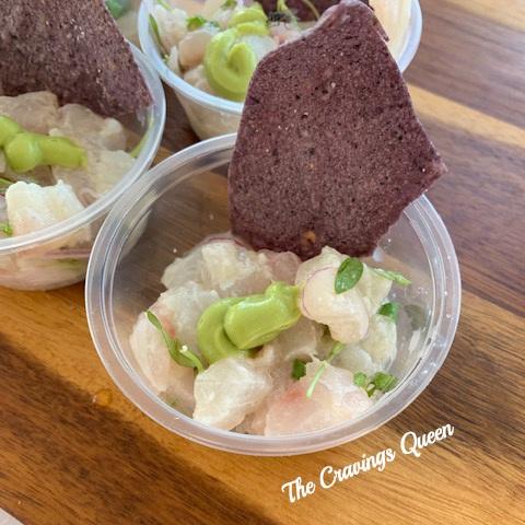 Terrapin - Flounder Ceviche with Blue Corn tortilla chip