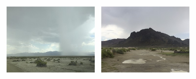 "The storm over the Black Rock (left) and during the storm at Black Rock Point (right). Notes from my sketchbook: ""1:30-ish, pouring rain. Let up briefly for 10 or 15 minutes. Thunder and hail right over Black Rock Point. 2:33, still raining."""