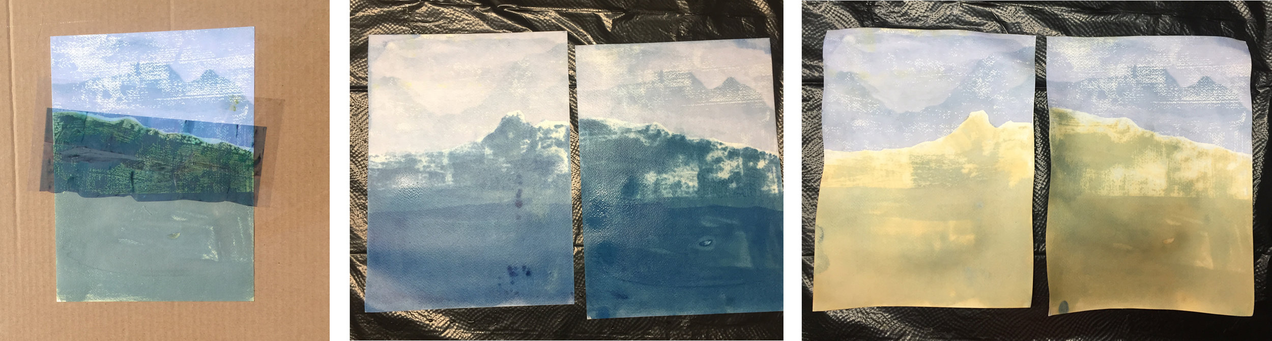 From left: cyanotype (with digital transfer) being exposed; cyanotypes after being washed; cyanotypes after being bleached, 2018