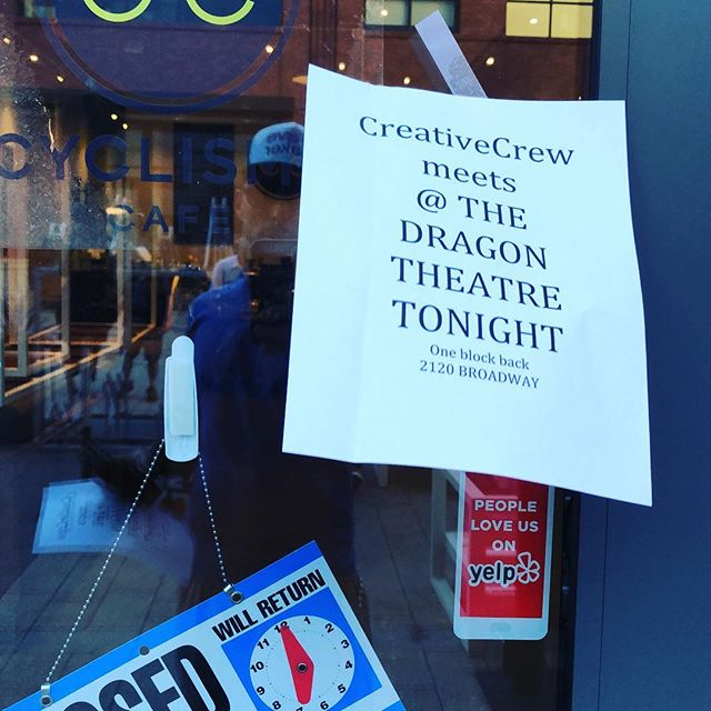 Don't forget we're meeting at a new location tonight for temporary space for September! @dragon_theatre #creativecrewrwc