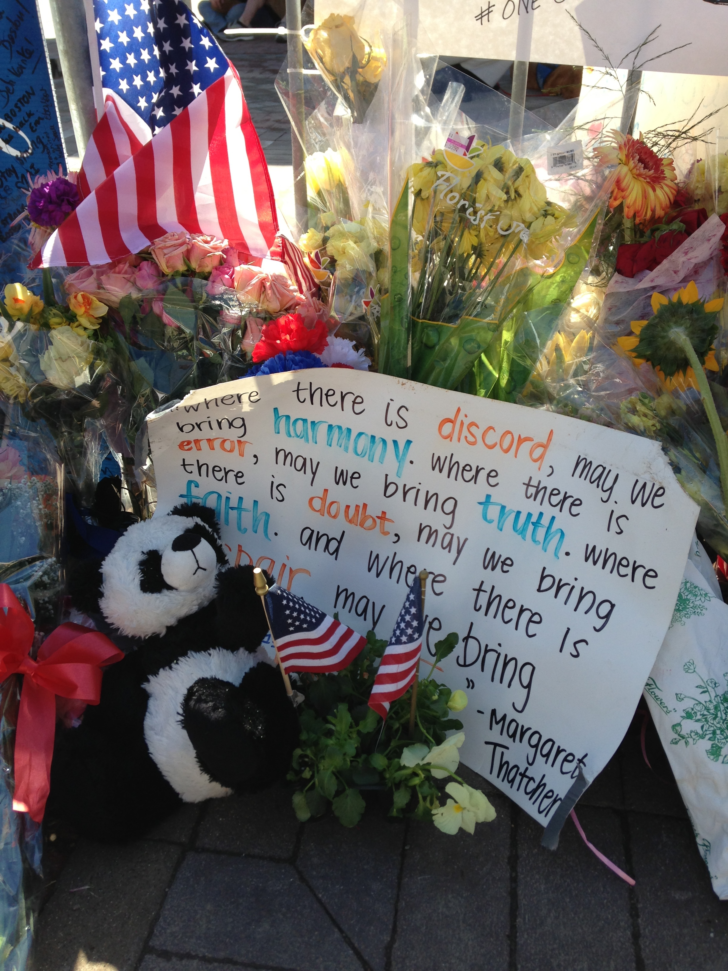 Flowers and cards from the site of the bombing.
