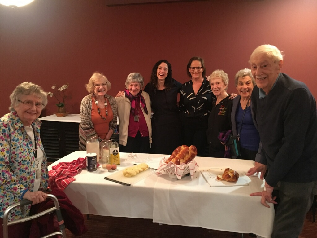 Belmont Village - Westwood, author in the middle with  Braided  event participants and organizer, Sandra Stoff Heller