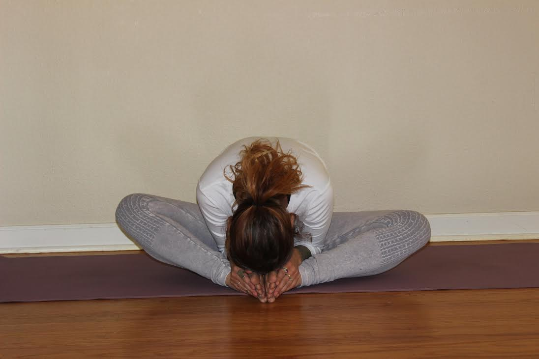 BUTTERFLY . Bring the soles of your feet together and, allowing your back to round, fold forward letting your head hang, if your body allows letting it rest on your feet.  Benefits: stretches the lower back and hamstrings, releases hip adductors, targets the gall bladder and urinary bladder meridian lines