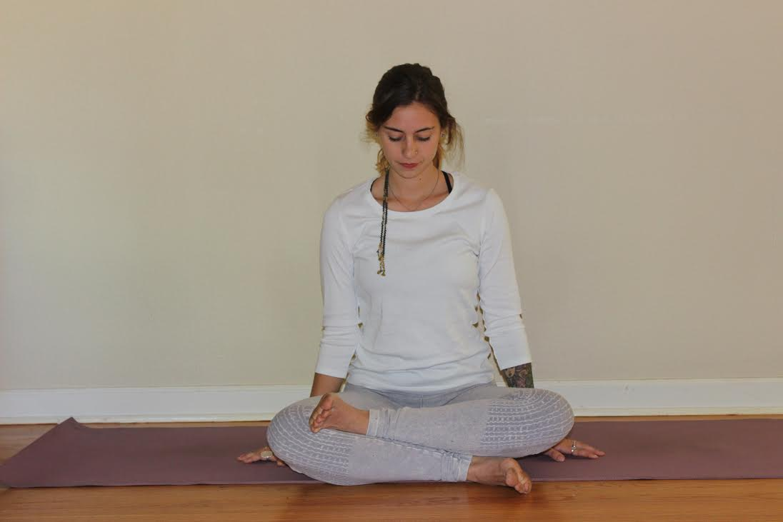 SQUARE.  Start by sitting with legs crossed. Move your feet forward until your shins are parallel to the front edge of your mat. If your hips and knees allow, place one ankle over the opposite knee and the other ankle under its opposite knee. If you find the top knee is very high in the air when you do this, bring that food to the floor in front of its opposite knee. Once comfortable, either remain upright or fold forward.   Benefits: Strong external rotation of the hips, decompresses the lower back   *If you're tight or experience any discomfort in the knees, place blankets under knees.    Coming out: lean back onto hands, straighten legs one by one, and lightly bounce out the legs and tighten/release the knees. Repeat on other side.