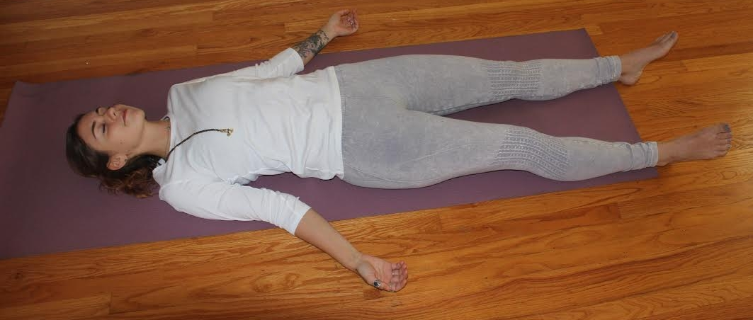 SAVASANA.  Lie flat on your back, letting your feet part and arms rest by your sides. Scan your body from your toes to your head, allowing every muscle and joint to deeply release and relax.   Benefits: Savasana symbolizes the end of your practice. Time to rest and become aware of the energy that is moving in and out of the areas you worked in the previous postures. This is the most important part of your practice, so stay here for a few extra minutes.   Coming out: slowly roll onto your right side. Use your left hand to press up to a seated position. Rest in a meditative posture for a few minutes, eyes still closed.
