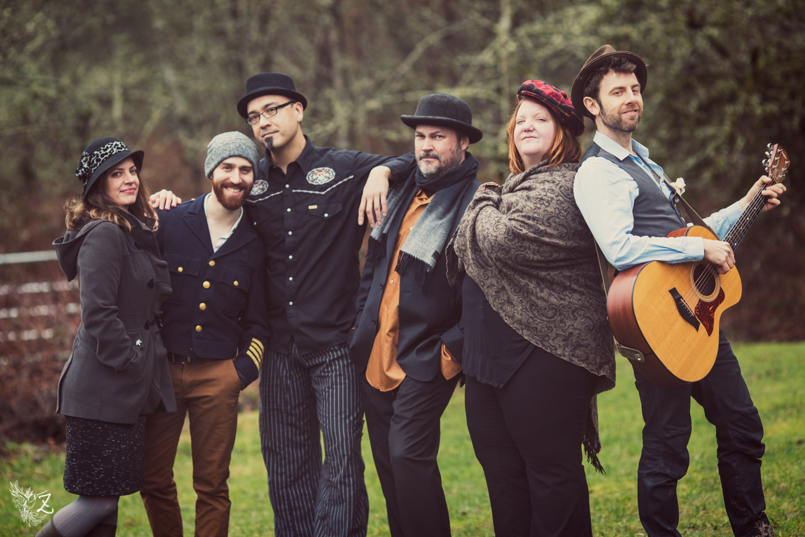 Band members (from left to right)  Sophie Bloch - Violin, vocals Gil Assays - Keyboards Jason Flores - Bass David Langenes - Guitars Katie Presley - Trumpet and accordion Robin Jackson - Vocals, guitar, sax, clarinet and whistling Photo Credit: Zippy Lomax