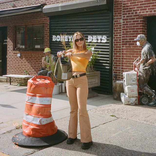 Our puzzle tank and new shoulder bag in full detail, shot in Greenpoint with Caroline 🦠🧪