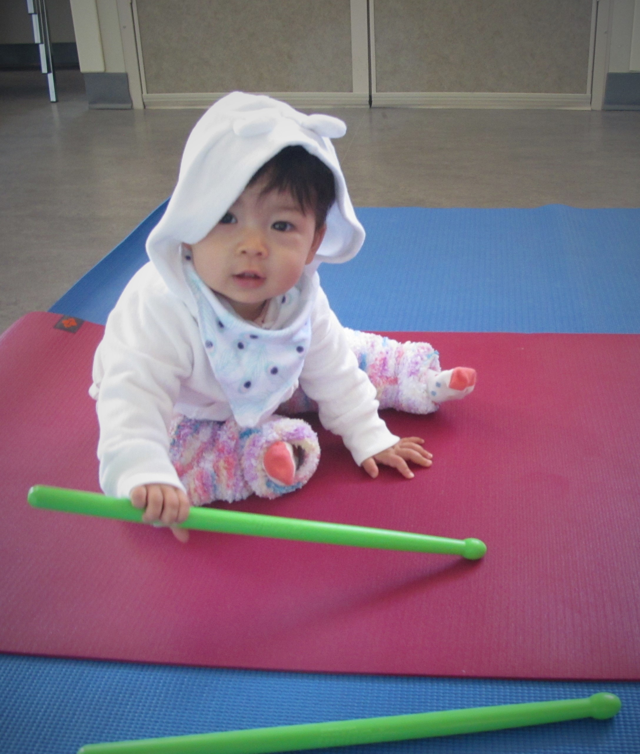 Anica Getting Ready for the Mom and Baby Pound Fitness Class at FHC
