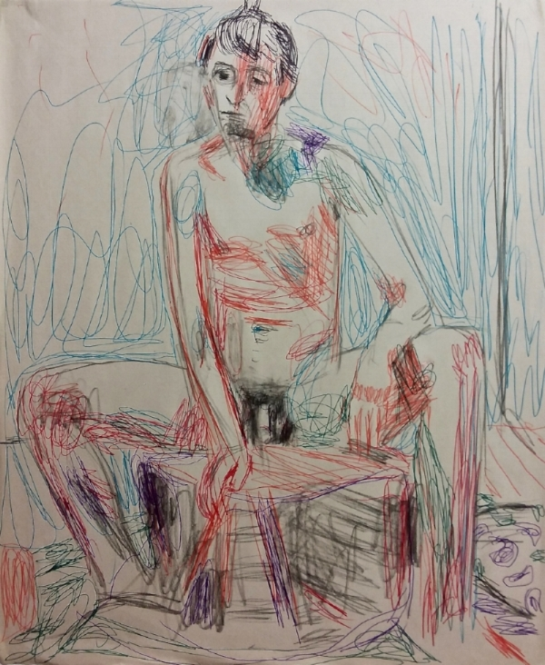 young man sitting, colored pen and pencil on paper, 2017