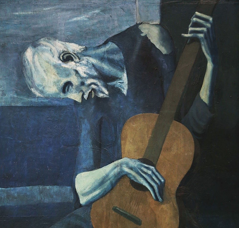 (detail) the lady behind Picasso's   Old Guitarist