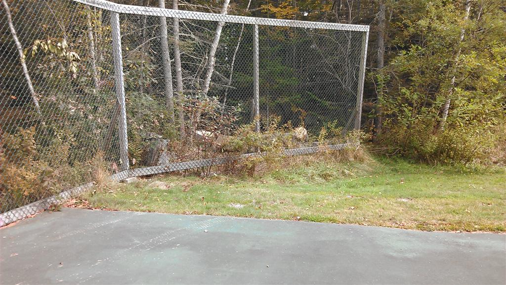 Tennis court, northeast corner