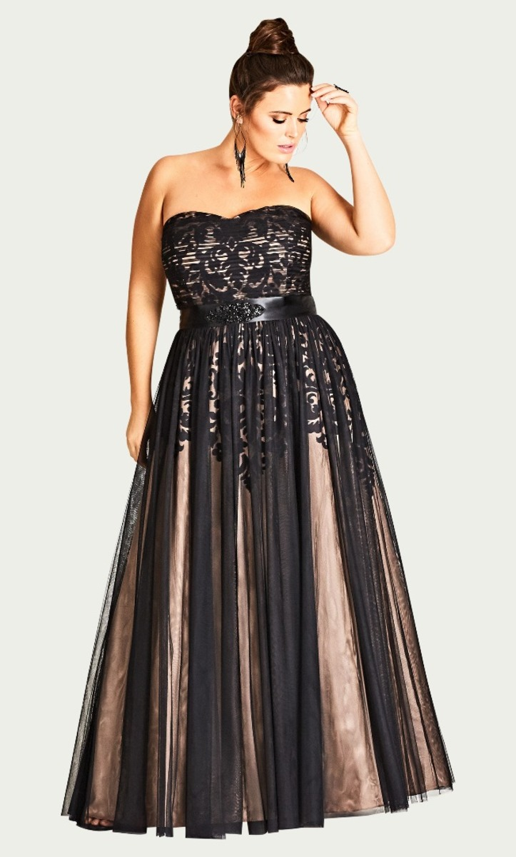 City Chic - Embroidered tulle maxi dress