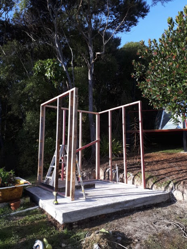 After the cement dried the free timber frames went up easily.