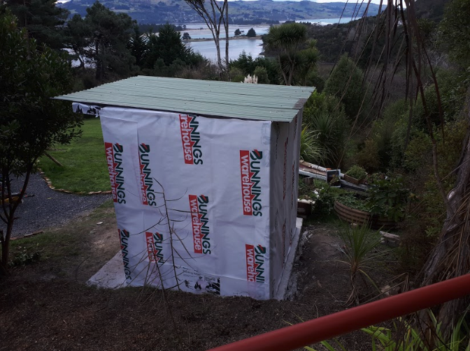 We headed down to Invercargill for corrugated iron and decided to use it for both the interior and exterior of the bathroom.