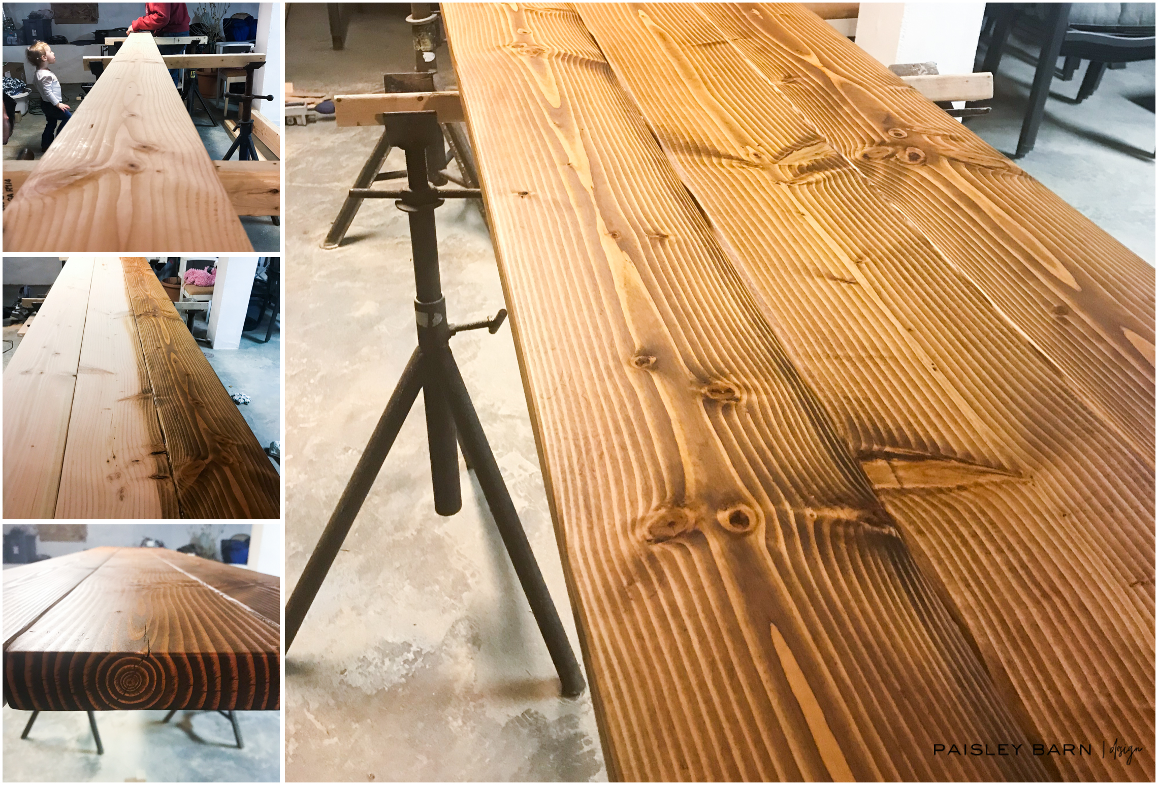 Staining and finishing the Douglas fir boards.