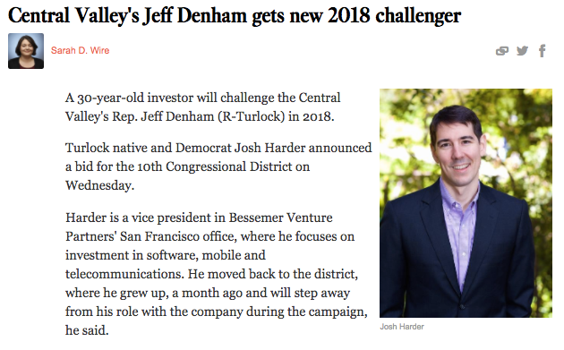 Central Valley's Jeff Denham gets new 2018 challenger