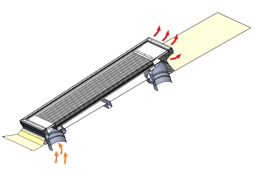 Ventilation by means of solar chimney effect