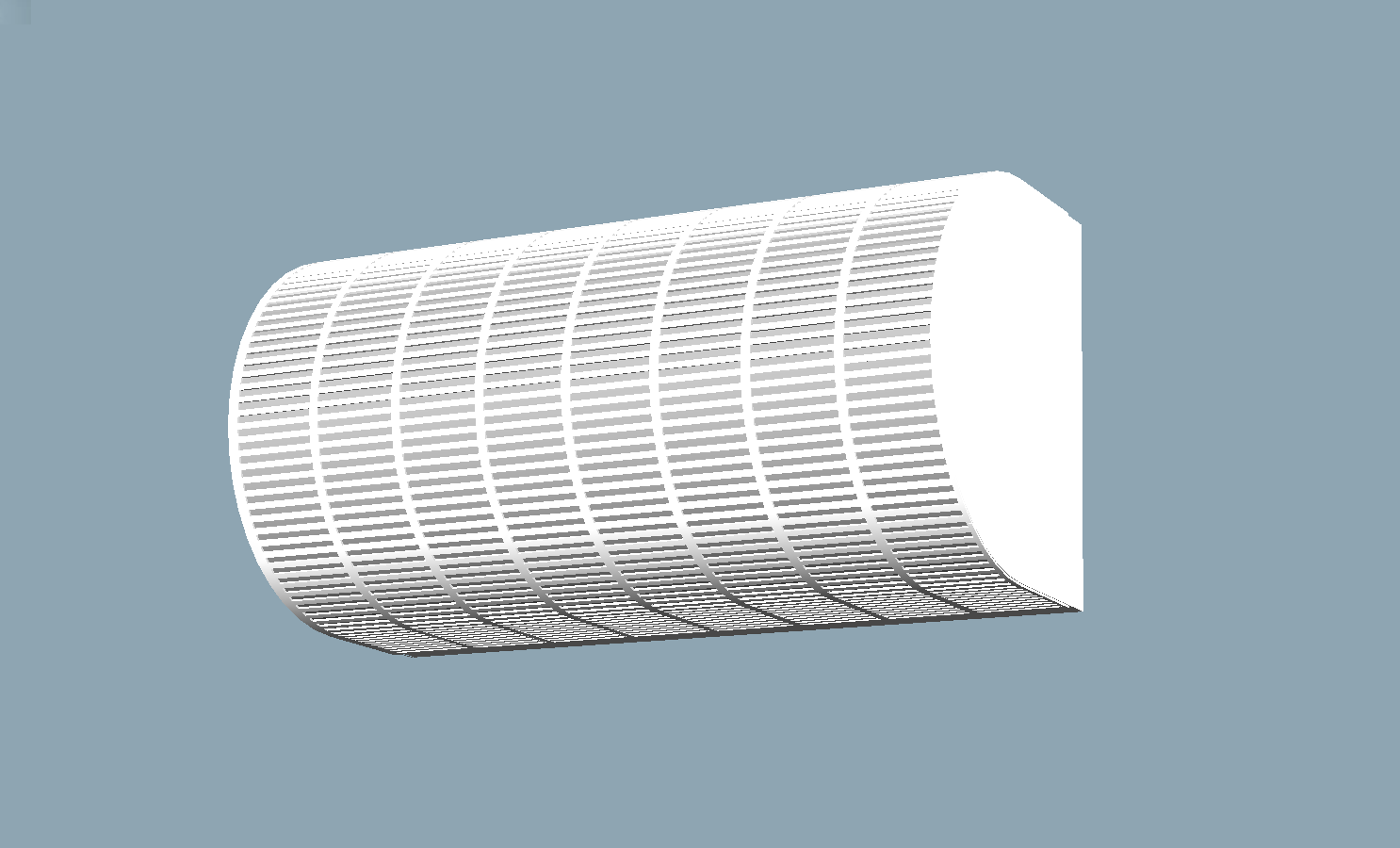 V1 - This elongated 300mm long wall-mounted fan draws in and filters up to 140m3/hr of outside air via a 100mm diameter duct. A double bedroom requires 60m3/hr ventilation and less for a single, while a living area of five people may require approximately 130m3/hr.The fan is quiet which is especially important in bedrooms. Its uniquely streamline design causes very little resistance to air leading to low torque and a significantly reduced power consumption of about 5.3W.