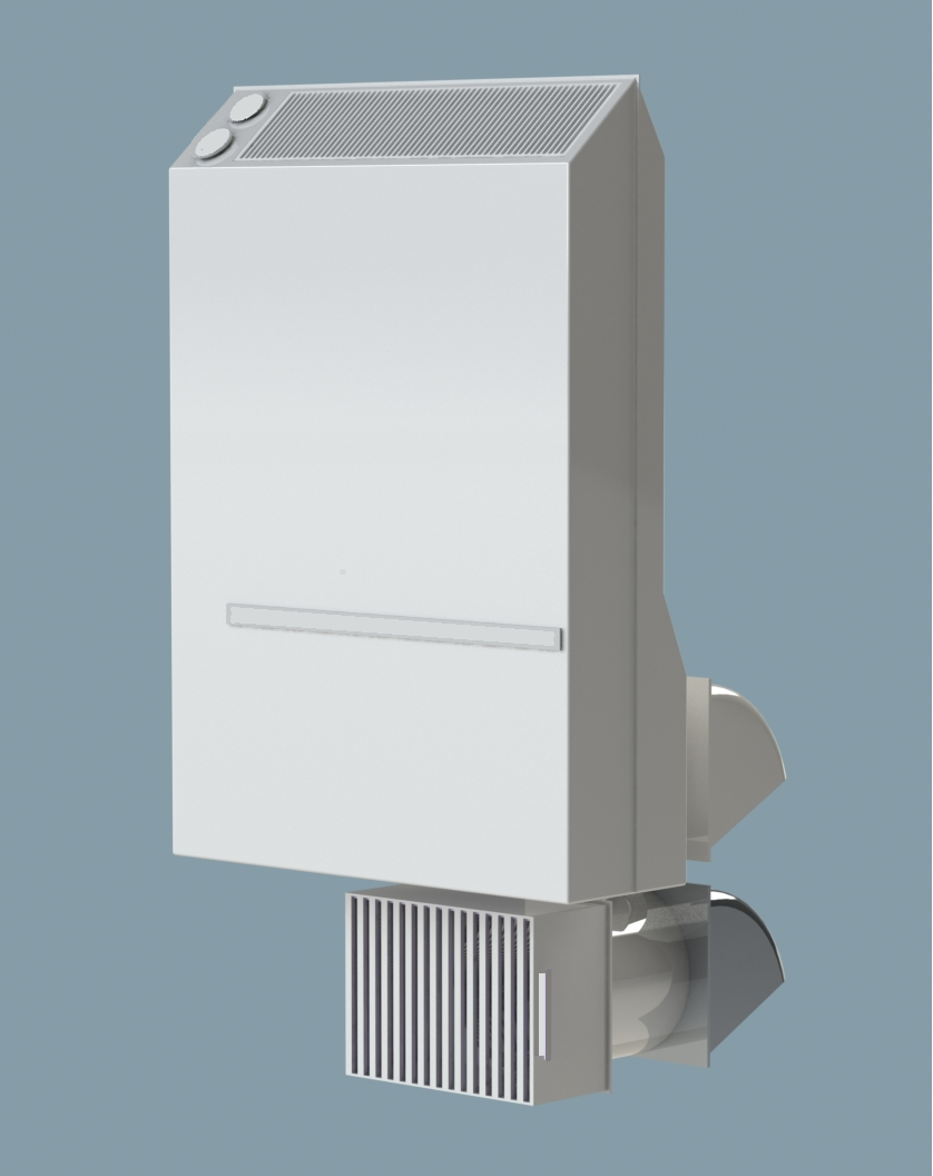 V2 and V3 - V2 and V3 are all-seasons ventilation solutions with heating for the colder season. V2 is wall-mounted while V3 is ceiling-mounted. They quietly filter up to 140m3/hr outside air. When the temperature drops below a certain threshold, they switch to recycle and continue to heat air.An optional vent under the heater passively allows stale air to be exhausted once V2 or V3 have positively pressurized the room. This optional vent can also be closed off to the outside depending on the outside temperature.Their compact size makes them ideal for any room of the house.