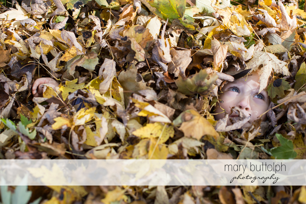 Girl covered with leaves except for her face at Skaneateles