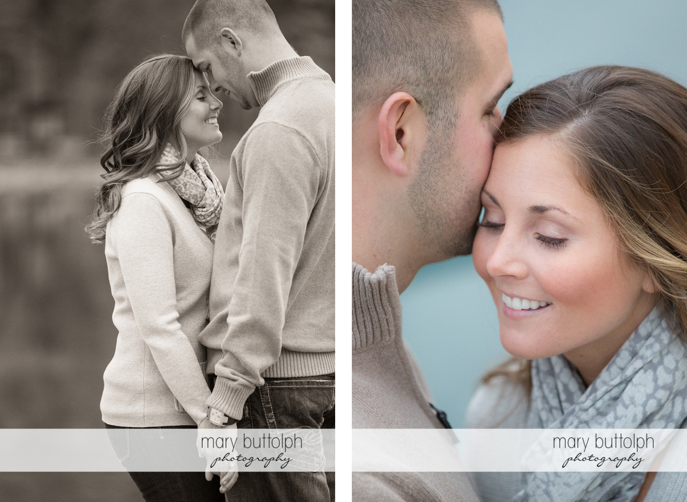 Couple show their affection in these two photos at Skaneateles Engagement