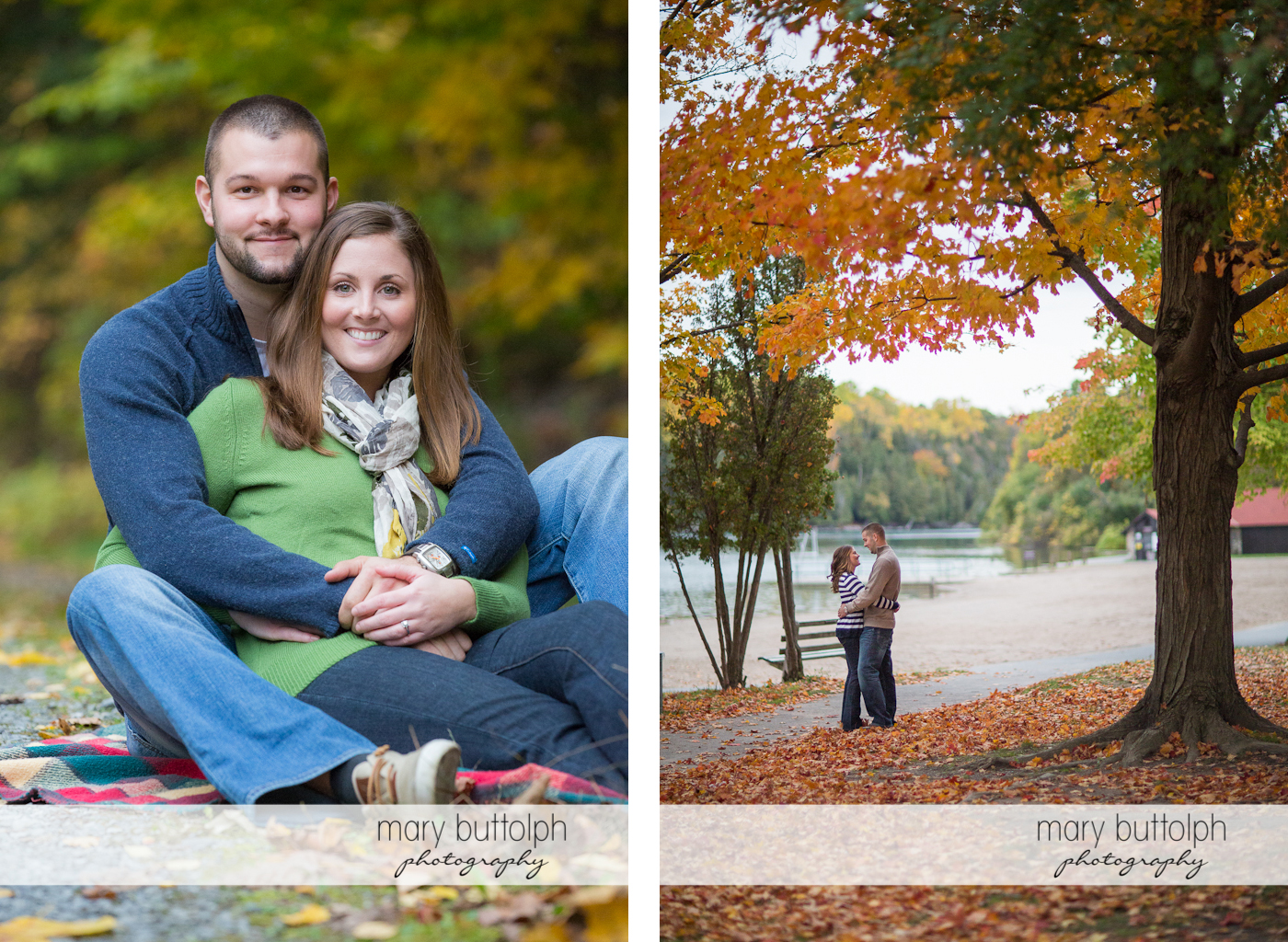 Couple sit on a blanket in the park and embrace near the lake at Skaneateles Engagement