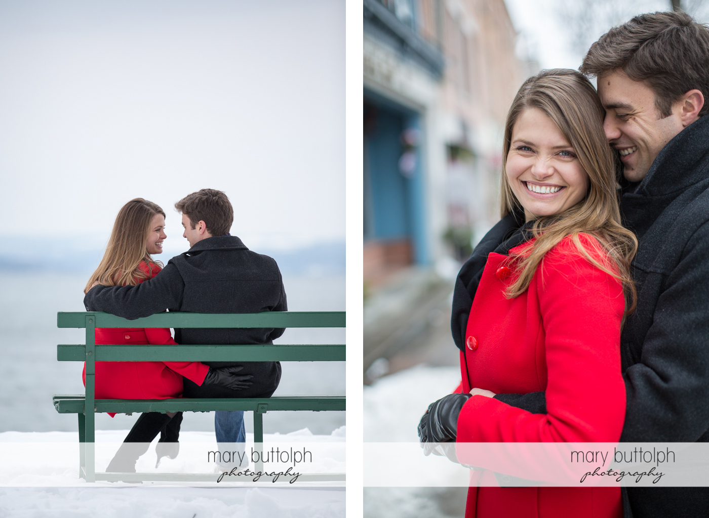 Couple sit on the bench and enjoy the sights at Skaneateles Engagement