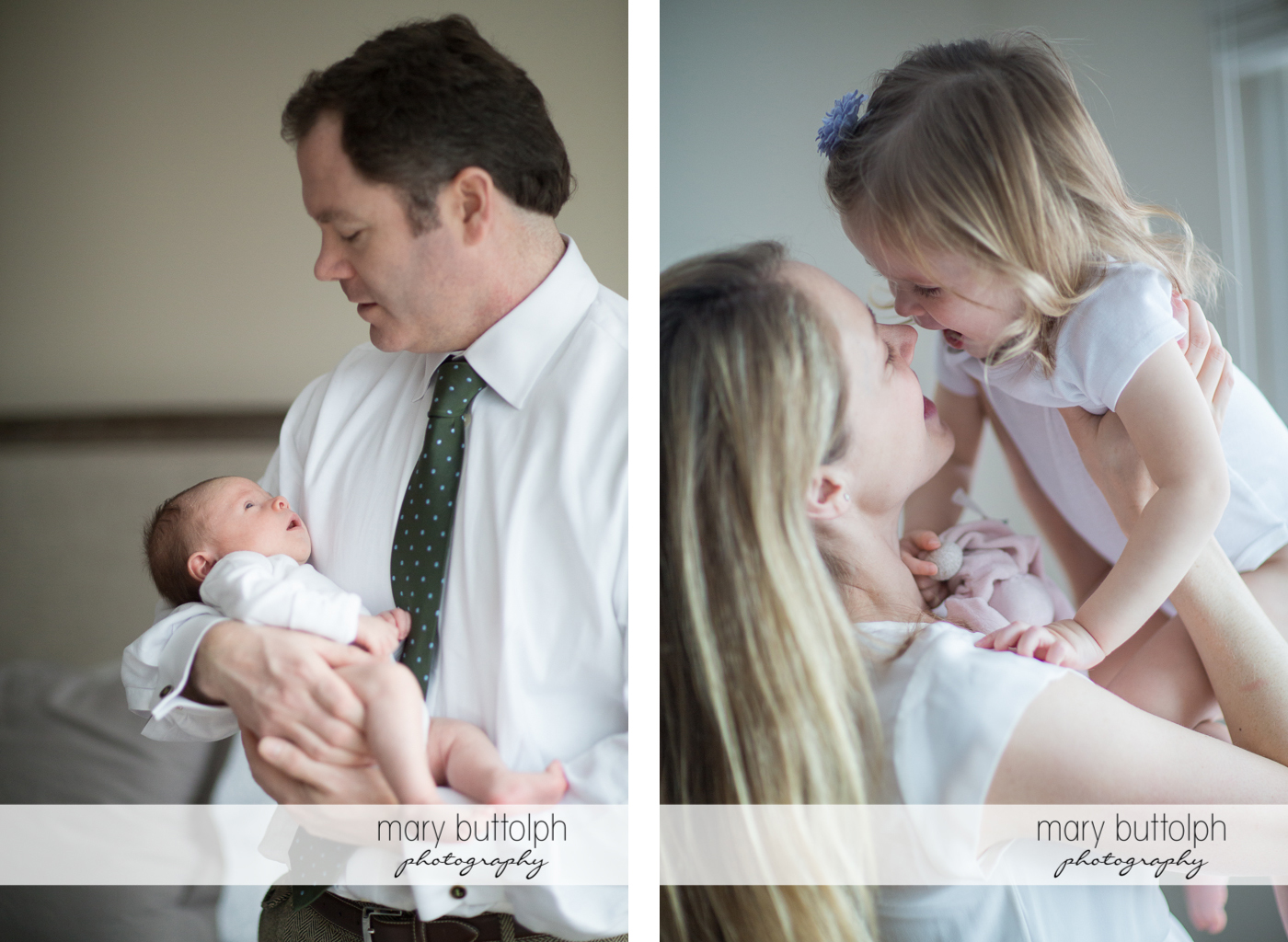 Man carries his newborn son while his wife plays with their daughter at Skaneateles Newborn Photography