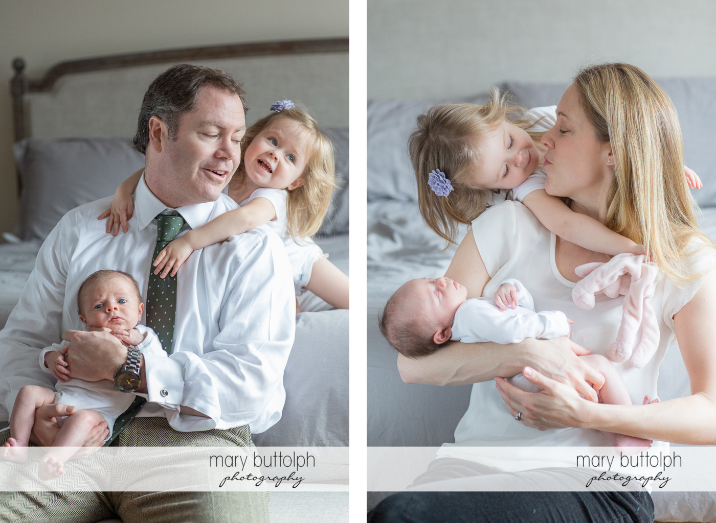 Baby with a puzzled look on his face poses with his dad and sister, and later with his mom at Skaneateles Newborn Photography