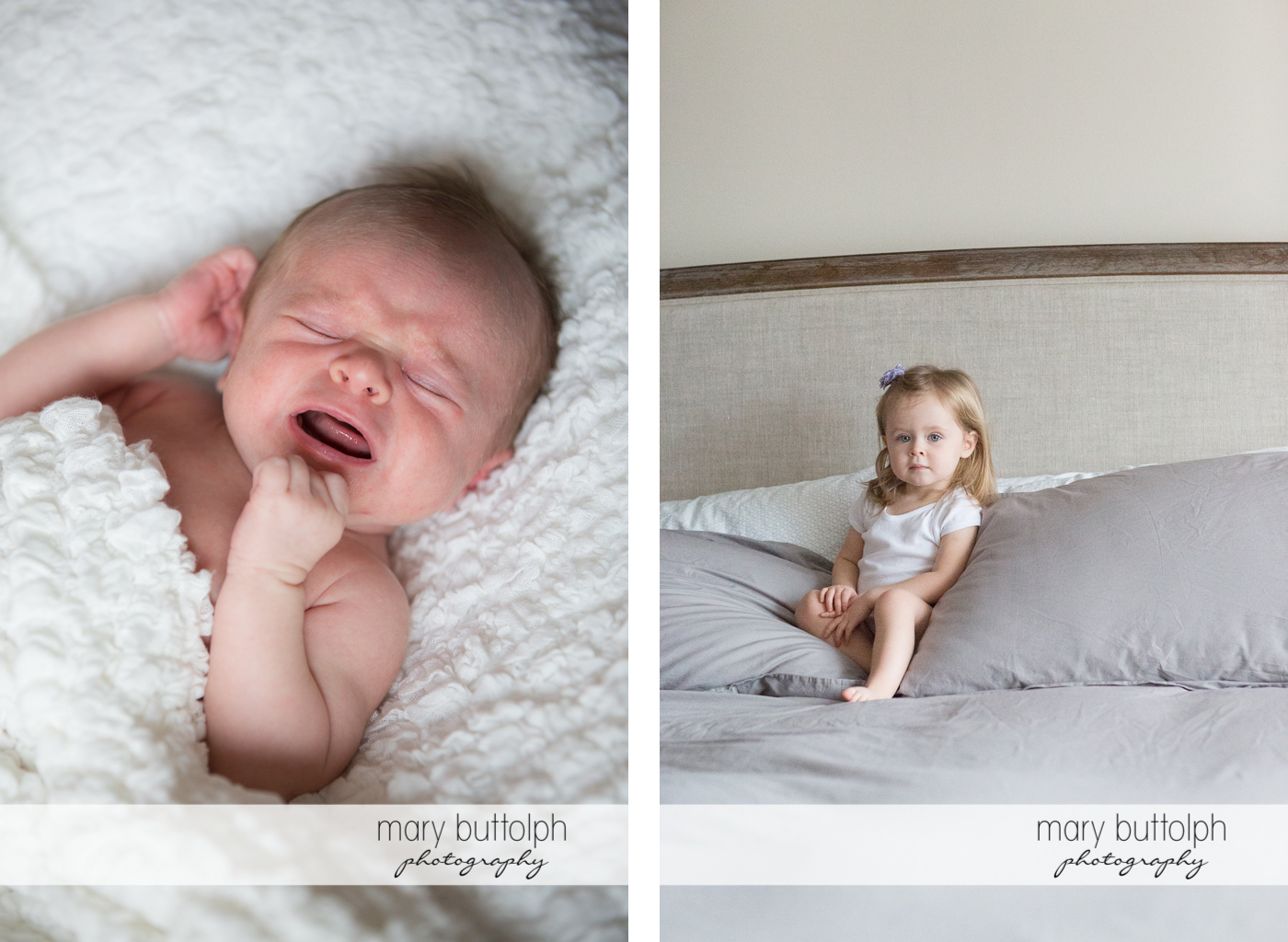 Close up shot of a baby boy crying while his sister sits on the bed at Skaneateles Newborn Photography